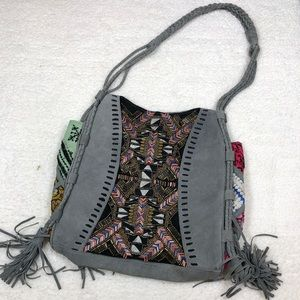 Free People Gray & Multiple Pattern Shoulder Bag